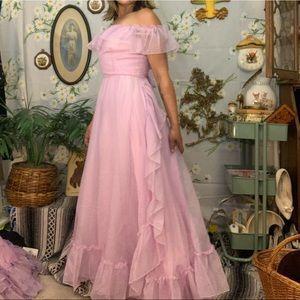 Vintage 70s lilac purple chiffon flutter maxi gown